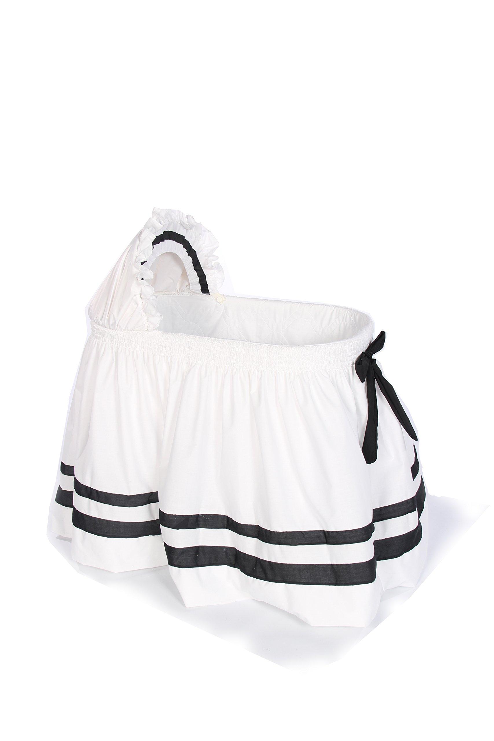 Baby Doll Bedding Modern Hotel Style II Bassinet Skirt, Black