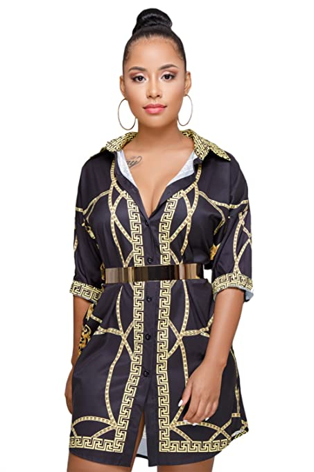 2db278efd6c5 New Black Gold Patterned Short Sleeve Button up Fashion Mini Shirt Dress  Summer Party Wear Shirt Blouse Size M UK 10-12 EU 38-40  Amazon.co.uk  DIY    Tools