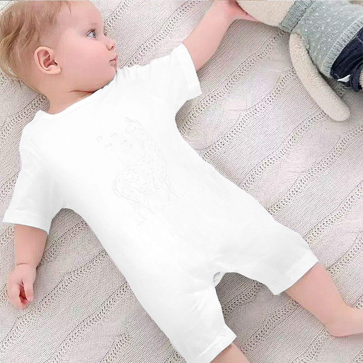 YINGFG Baby Boys Girls Short Sleeve Jumpsuit Song of The Llama Cotton Romper