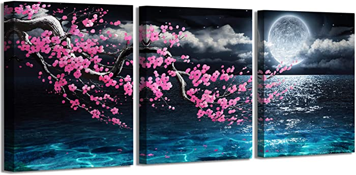Canvas Art Wall Decor Framed Wall Art Plum Blossom Moon Ocean Art Prints Wall Decor for Bedroom Modern Wall Pictures for Bathroom 3 Pieces Wall Decorations for Home Kitchen Size 12x16 Each Panel