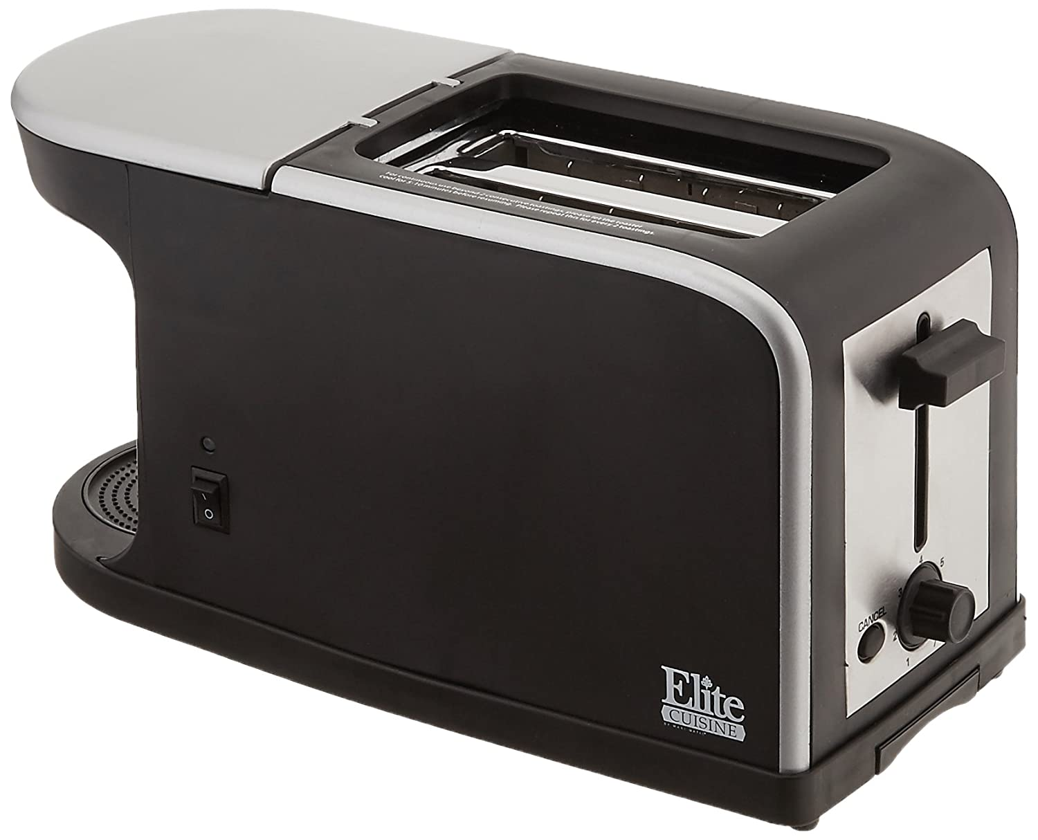 Elite Cuisine ECT-819 Maxi-Matic 2-in-1 Dual Function Breakfast Station Toaster and Coffee, Black