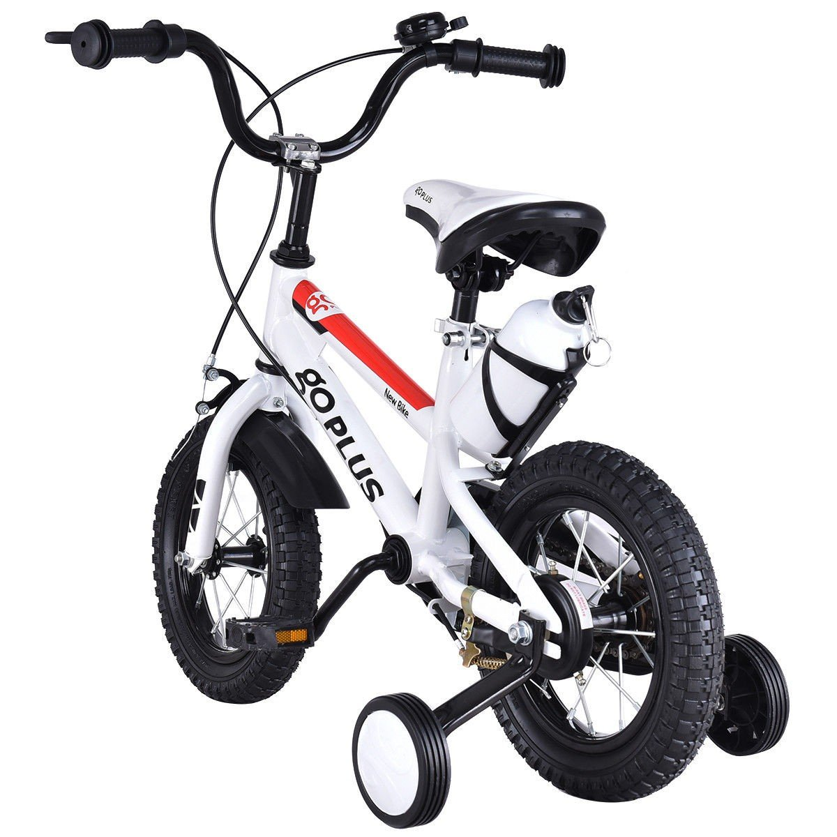 MD Group Kids Bicycle 12'' Freestyle White Metal Frame Adjustable with Training Wheels by MD Group (Image #3)