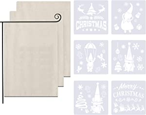 wartleves 3 Pcs DIY Blank Garden Flags with 6 Pcs Christmas Stencils for Outdoor Patio Garden Yard Decoration 12 x 18 Inch Burlap Flags Christmas New Year Holiday Seasonal Decor