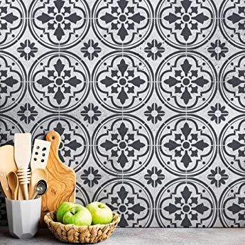 Barcelona Tile Stencil Diy Tile Stencil For Faux Tiles Easy Tile Cover Up Wall And Floor Stencil Reusable Tile Stencil Medium 8x8 Tile Stencil Amazon In Home Kitchen