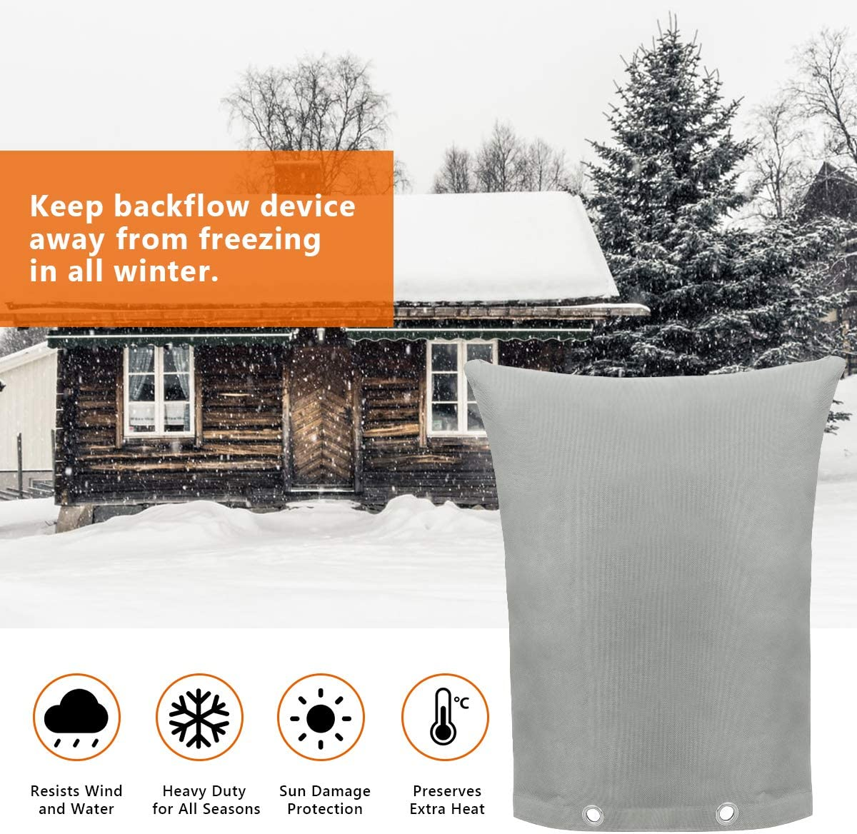 """Coolrunner Insulated Pouch Backflow Preventers Insulation Pouch Cover for Winter Pipe Freeze Protection 16/""""W x 20/""""H Backflow Winter Cover Backflow Insulation Cover Water Sprinkler Valve Box and C"""
