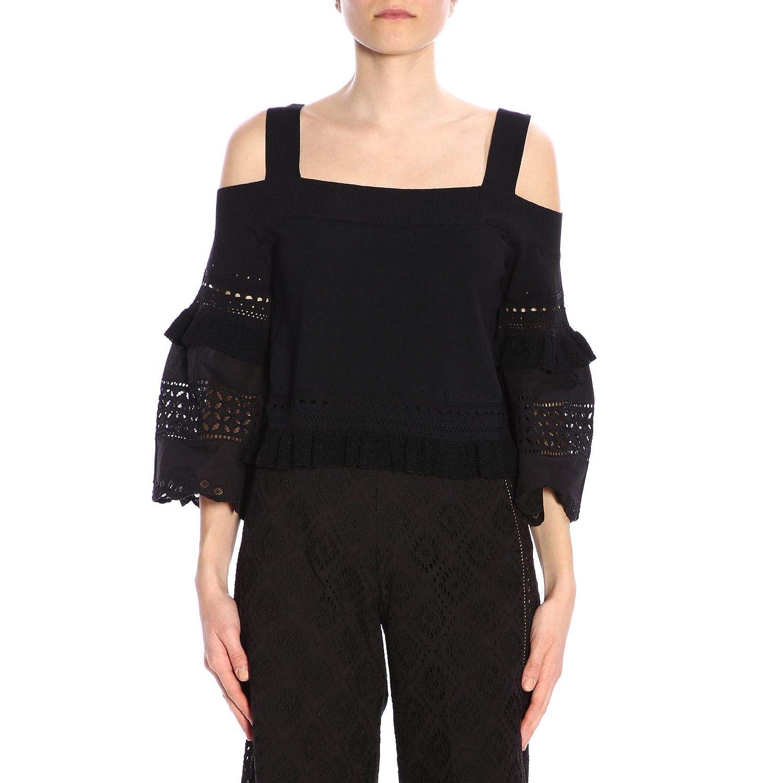 TwinSet Women's 191TT301100006 Black Cotton Top