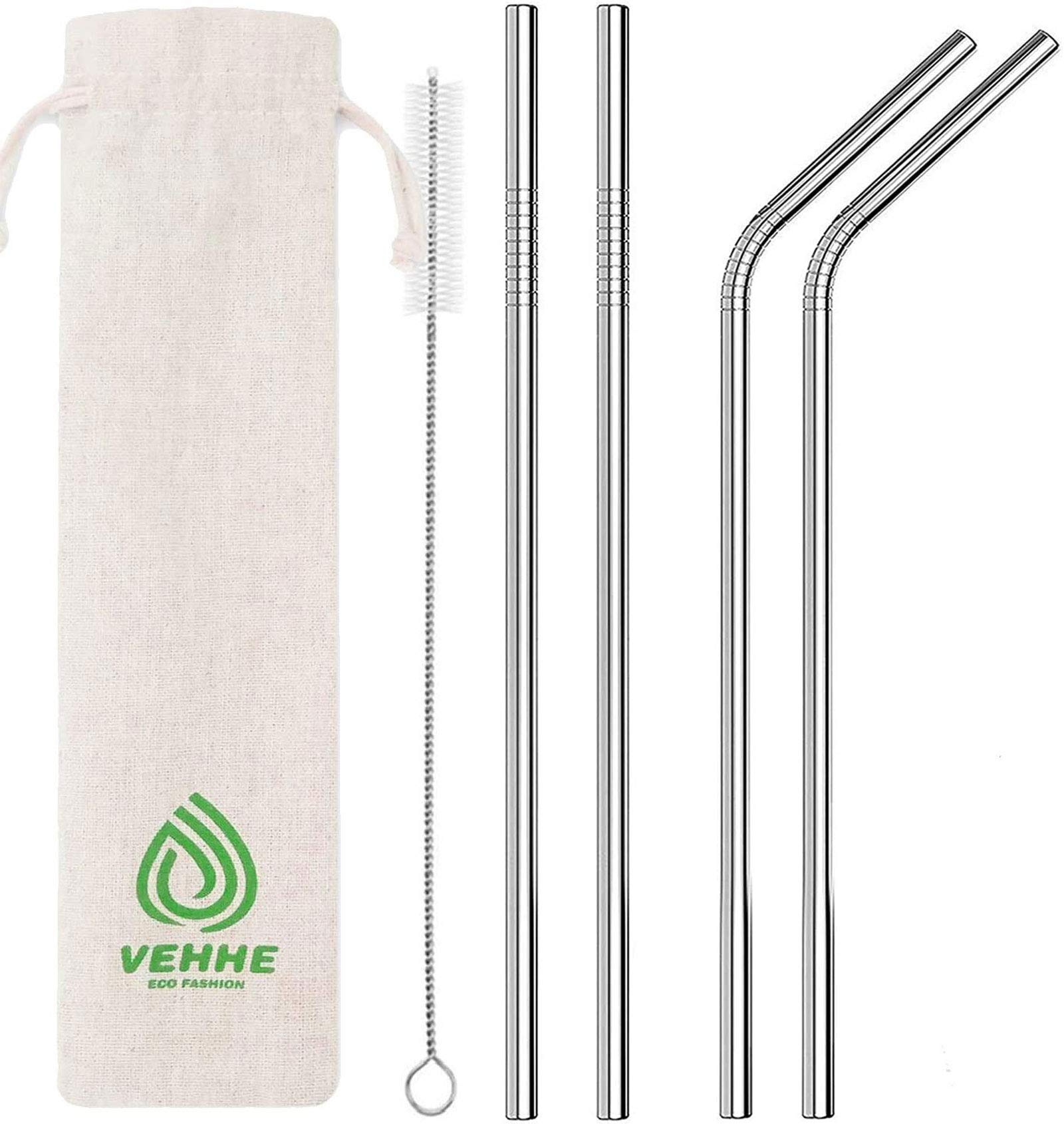 "VEHHE Metal Straw Stainless Steel Straws Drinking Straws Reusable FDA BPA - 10.5"" Ultra Long 4 + 1 - W/Cleaning Brush for 20/30 Oz for Yeti RTIC SIC Ozark Trail Tumblers (2 Straight