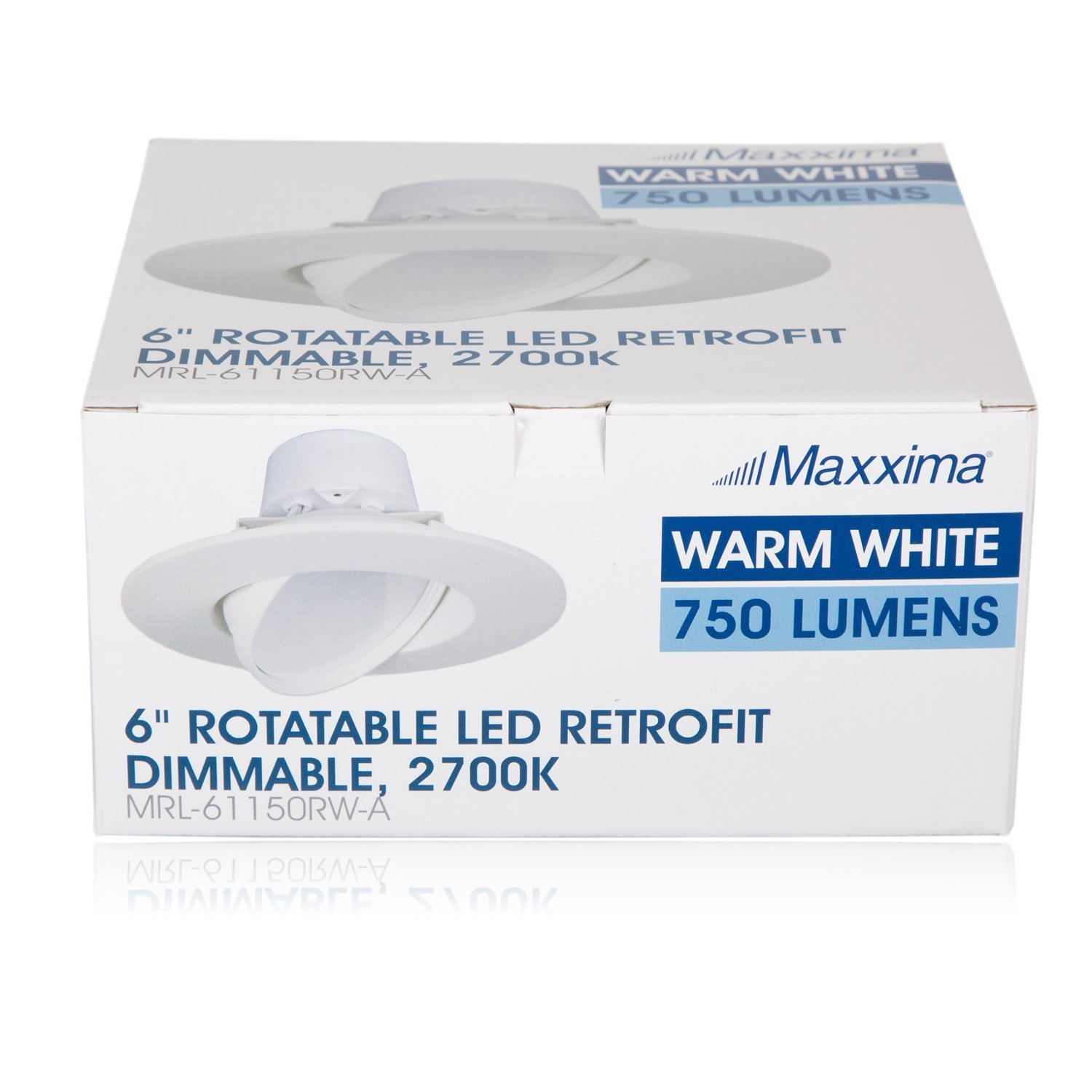 11 Watt 6-Inch Rotatable 750 Lumens Maxxima LED Retrofit Downlight Gimbal Warm White 2700k Dimmable, Straight E26 Connection Cable, Energy Star MRL-61150RW-A