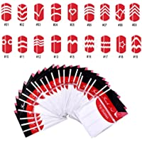 COSCELIA 18pc Decals French Nail art Stickers Manicure Tips Guide Nails Decoration Form Finger Guides DIY Beauty Nail Tools Decoration