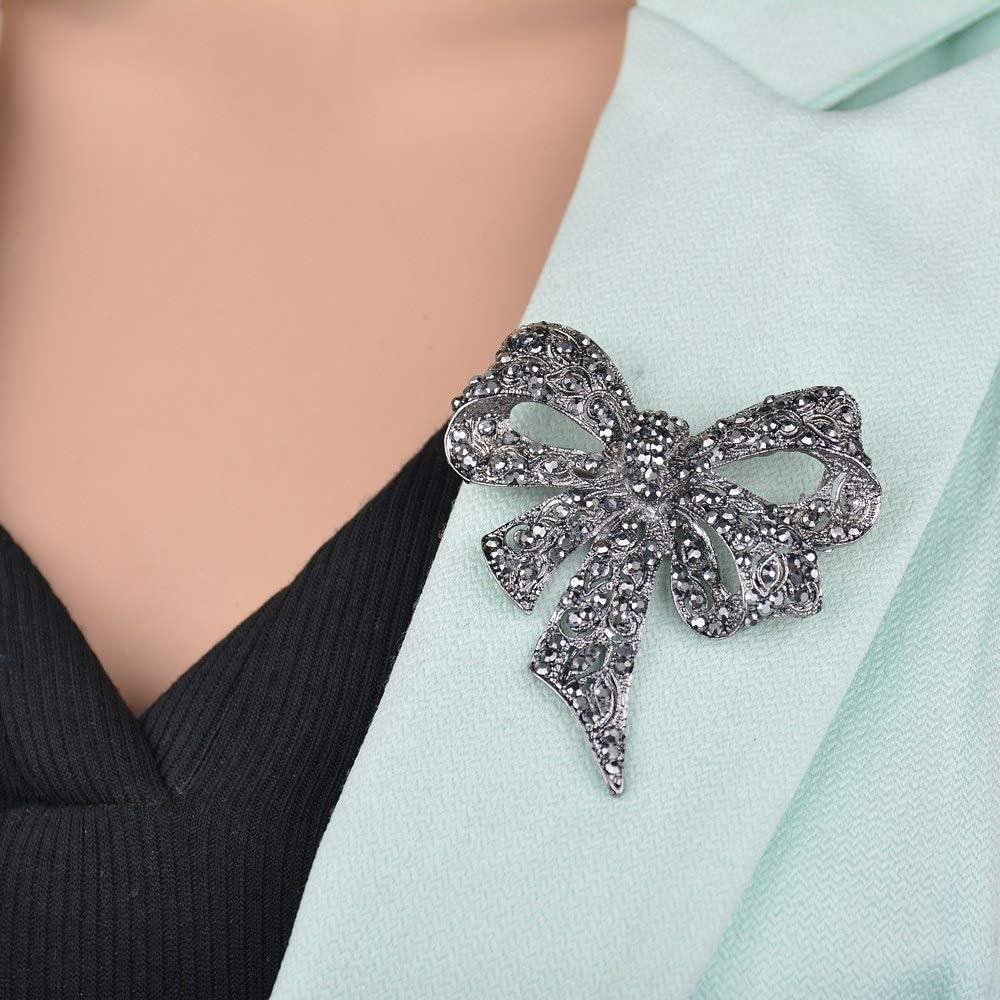 Ogquaton Antique Silver Crystal Bow Knot Broches Pins cadeau de mariage cr/éatif pour les femmes pratique