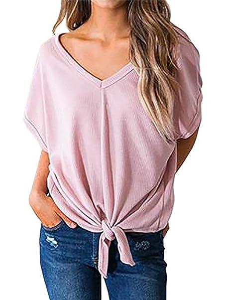 02181800e18b Verano Mujer Moda Cuello V Manga Corta Remata Camisetas Blusa Loose ...