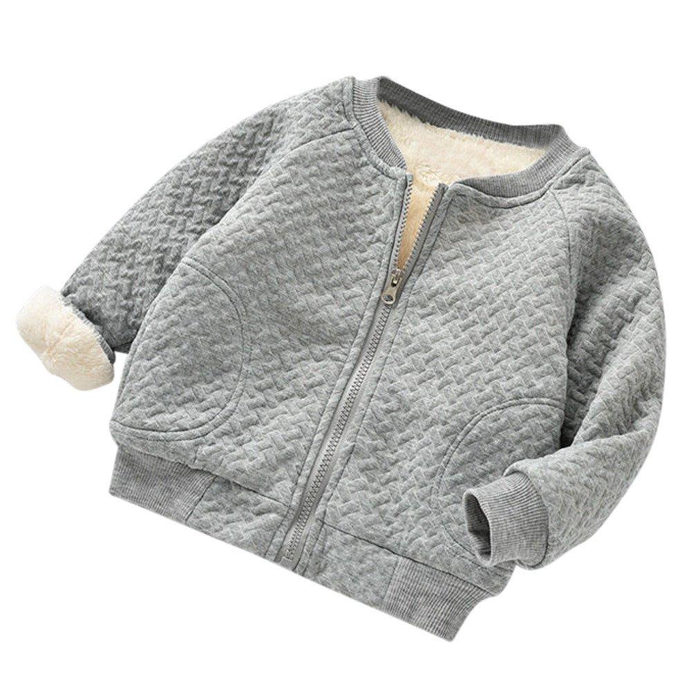 Weant Baby Coat Newborn Girls Boys Winter Warm Solid Zip Plus Velvet Cotton Baseball Jacket Coat