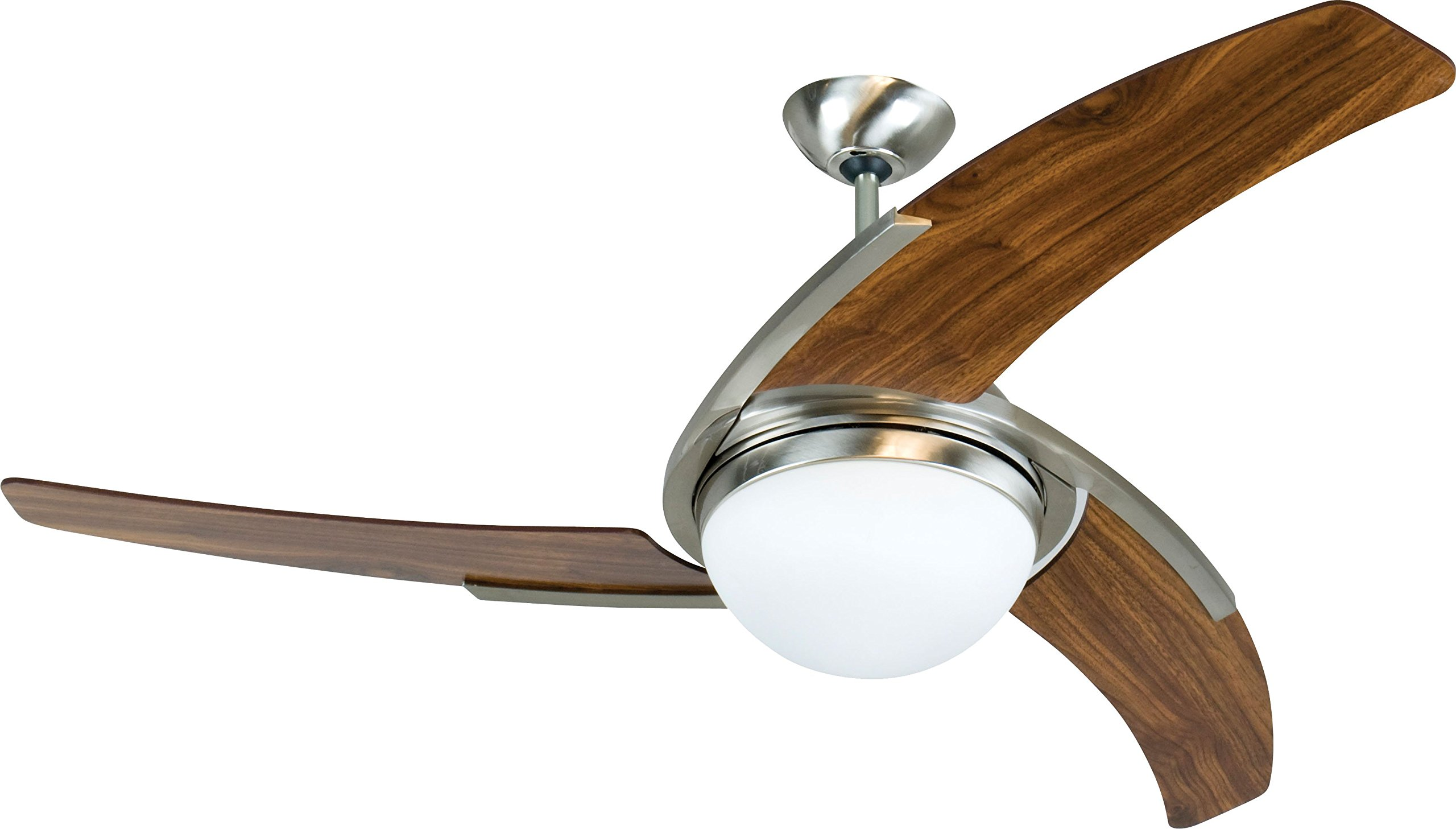 Craftmade JU54SSW3 Juna, 54'' Wooden Blade Stainless Steel Ceiling Fan with Remote and Light