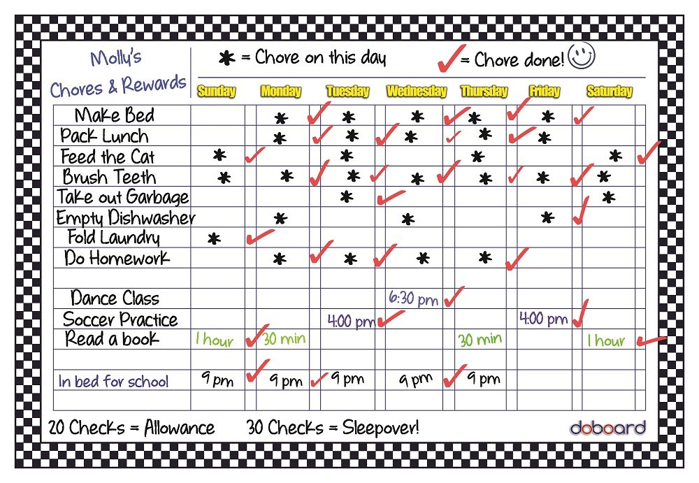 DoBoard Large 12x17 Magnetic Flexible Dry Erase Chart Board ● Chore ● Responsibility ● Activity ● Rewards ● Star ● Menu ● for Home Kitchen or Office ● Refrigerator or Cabinet BuyersBox DBDCHKA1