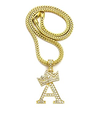 Crown gold tone stone initial letters pendant necklace 18 franco crown gold tone stone initial letters pendant necklace 18quot franco chain aloadofball Choice Image