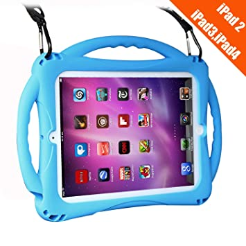 TopEsct iPad 2 Funda Niños Shock Proof Material silicona Lightweight Kids Protector Cover Case con Manija para Apple iPad 2, iPad 3,iPad 4(Azul)