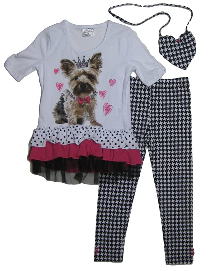 Knitworks Girls Photoreal Puppy Top /& Houndstooth Leggings Set Size 4