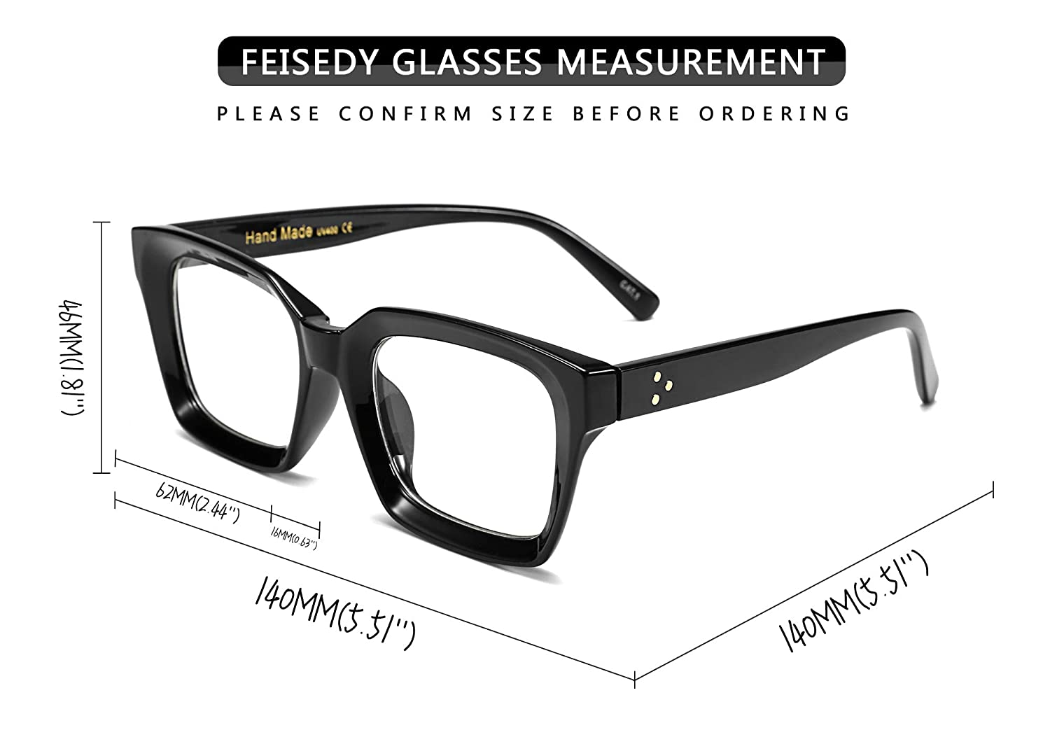 c0ea0c7a2c5 Amazon.com  FEISEDY Classic Oprah Square Large Eyewear Non-prescription  Thick Glasses Frame for Women B2461  Clothing