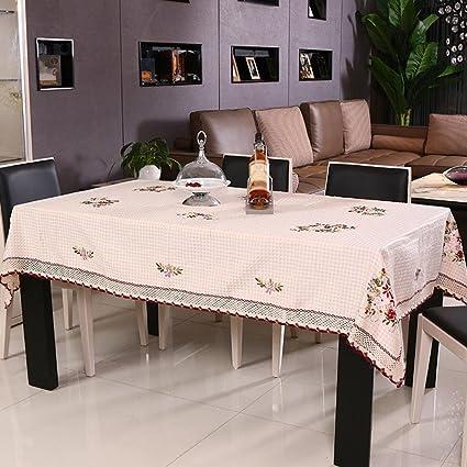 ZB Pastoral de cuadros mantel hecho a mano cinta bordado mantel té cubierta toalla , 40