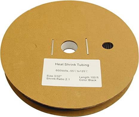 """3//32/"""" ID 2:1 Heat Shrink Tubing Polyolefin black insulation tube by the foot."""