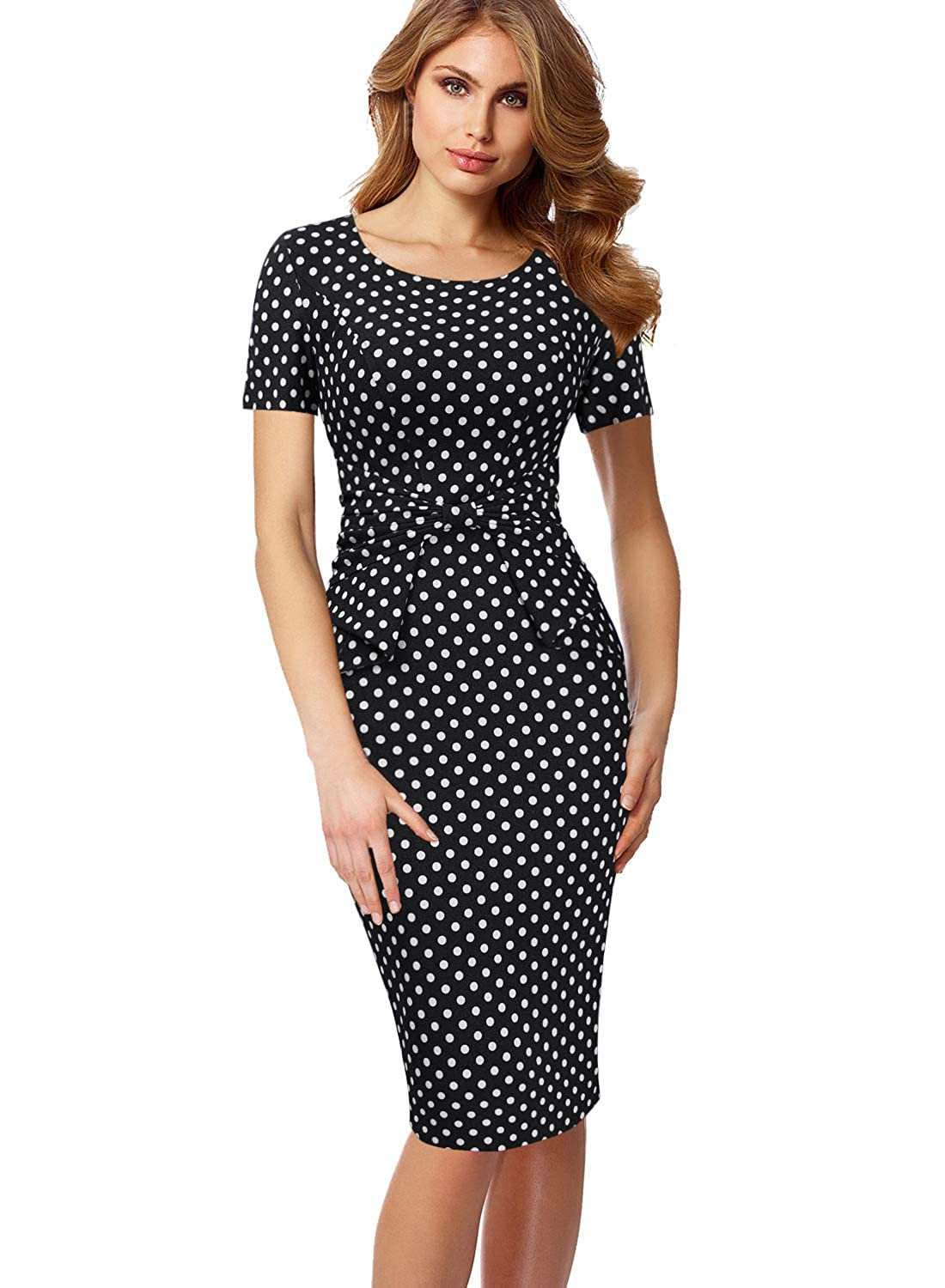 Black White Dot Short Sleeve VFSHOW Womens Pleated Bow Wear to Work Business Office Church Sheath Dress