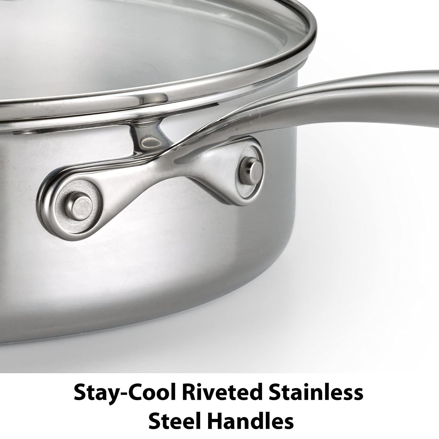 Silver 2100103838 Lagostina Q939SC64 Tri-Ply Stainless Steel Multiclad Dishwasher Safe Oven Safe Glass Lid Cookware Set 12-Piece