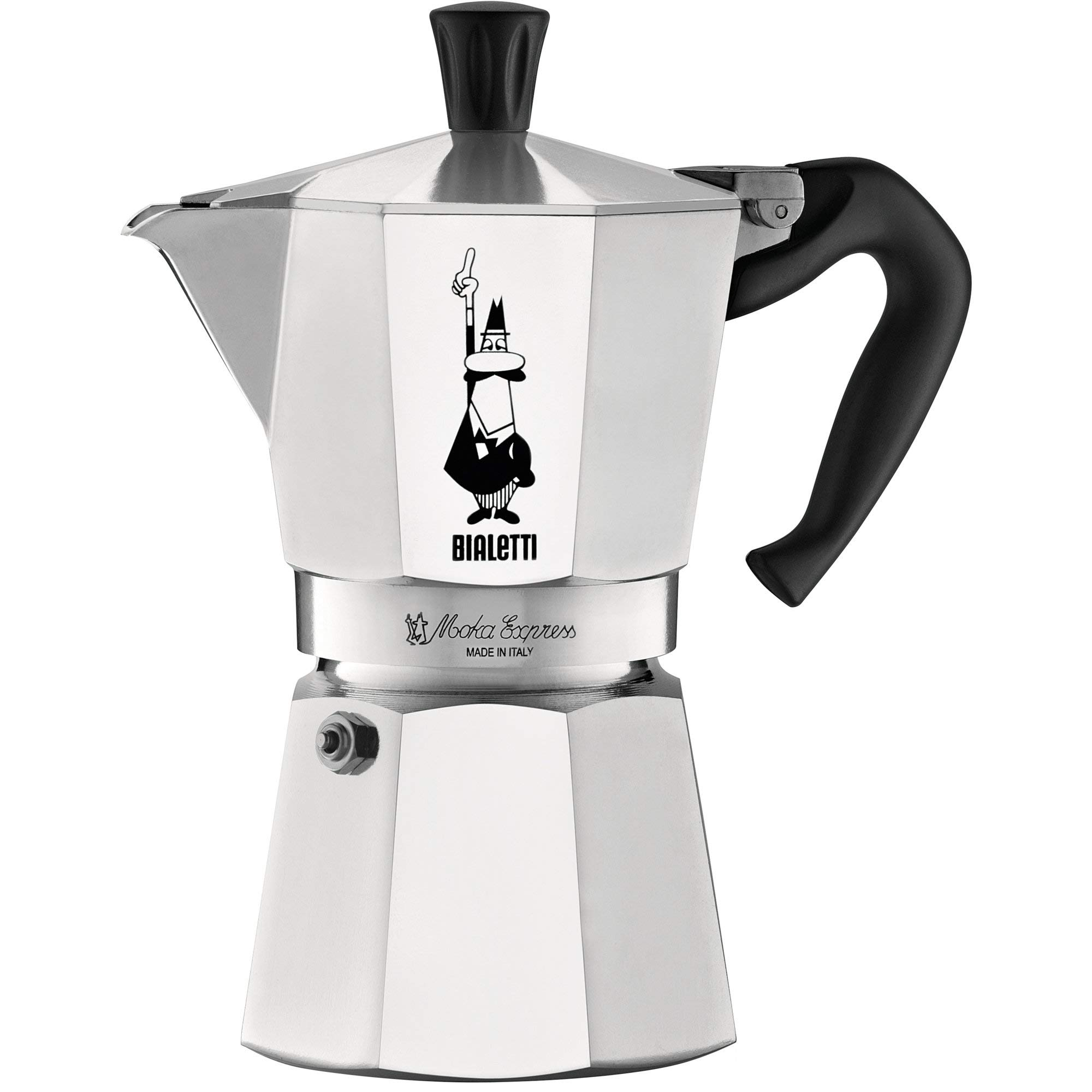 The Original Bialetti Moka Express - 6 Cup Stovetop Coffee Maker with Safety Valve - brews 9.2 ounces (Renewed)