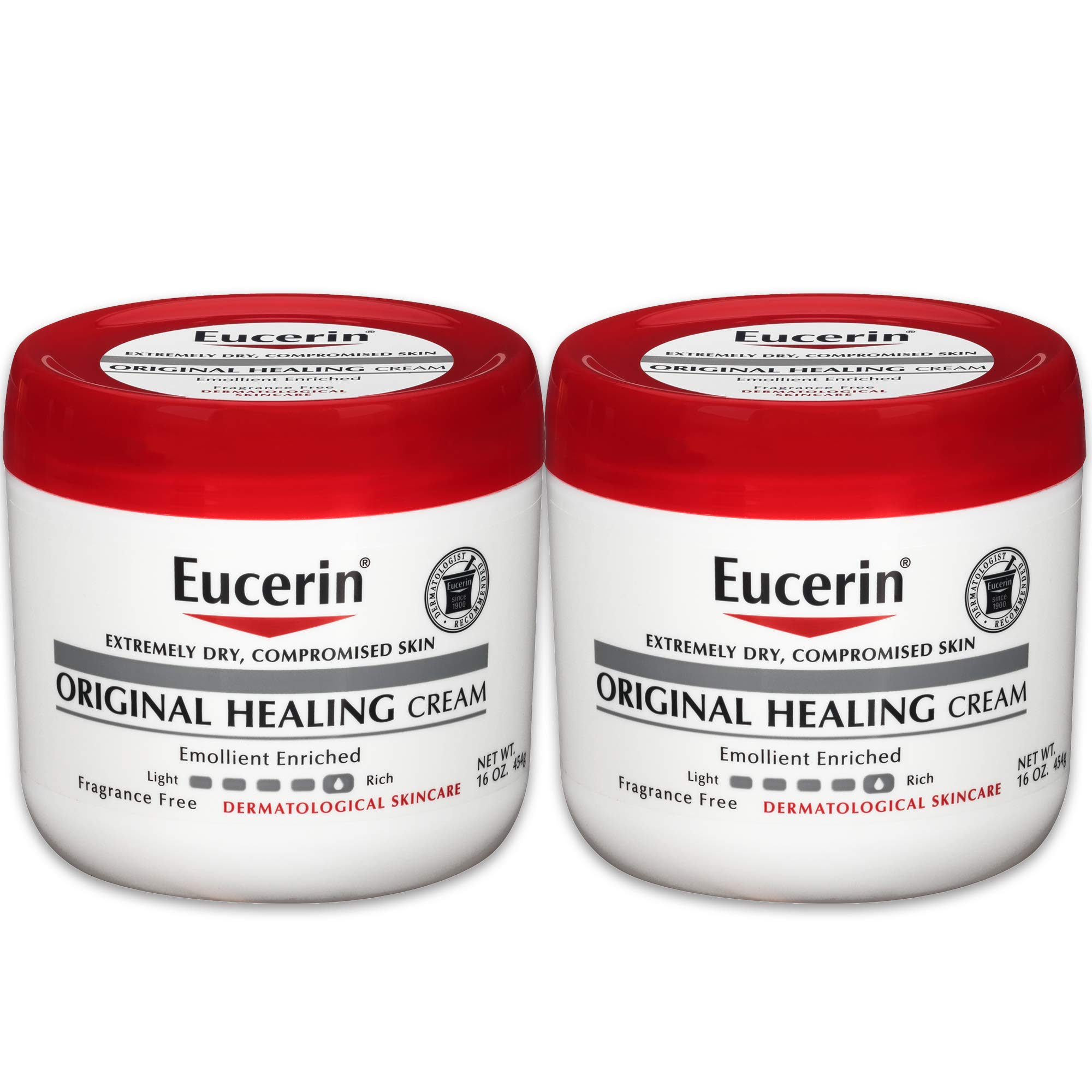 Eucerin Original Healing Cream - Fragrance Free, Rich Lotion for Extremely Dry Skin - 16 oz. Jar (Pack of 2) by Eucerin