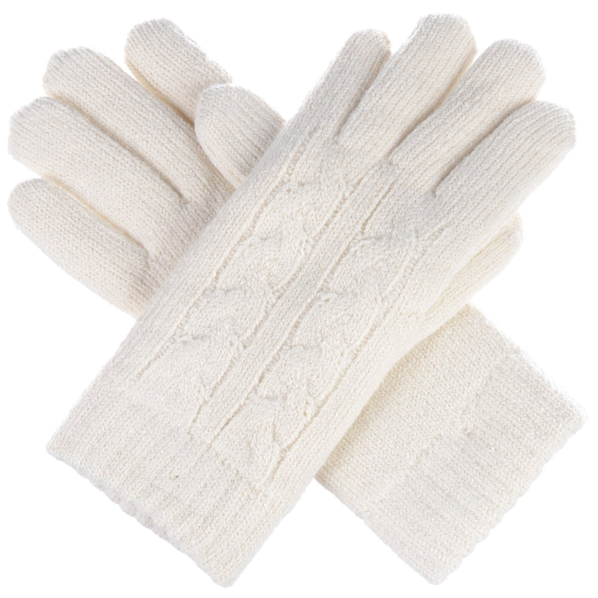 Womens Cold Winter Timeless Cable Knit Gloves, Warm Plush Faux Fur Fleece Lined (Ivory Double Cable)