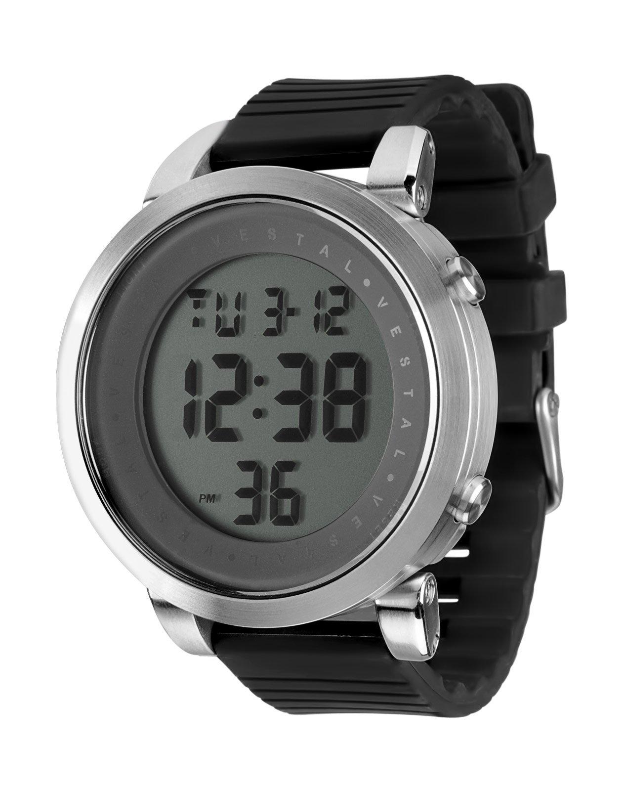 Vestal Men's DDDS04 Digital Doppler Rubber Black Silver Watch
