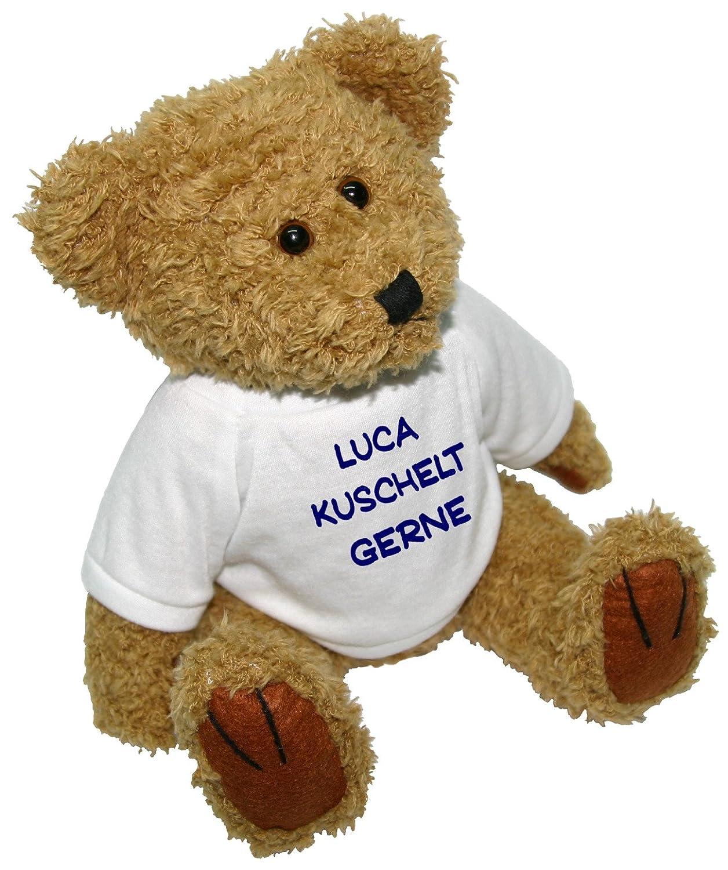 Stofftier Teddybär mit Aufdruck: Amazon.de: Spielzeug