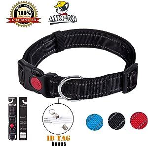 LukPaw Reflective Dog Collar Padded Dog Collar Adjustable Dog Collar for Large Dog Medium Dog Nylon Collar Running Training