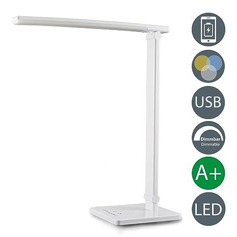 LED Lámpara Escritorio blanca de Mesa 5W con USB, 7 Niveles de Brillo, 5 Temperaturas de Color, Control Táctil, Flexos plástico para Estudio Lectura ...