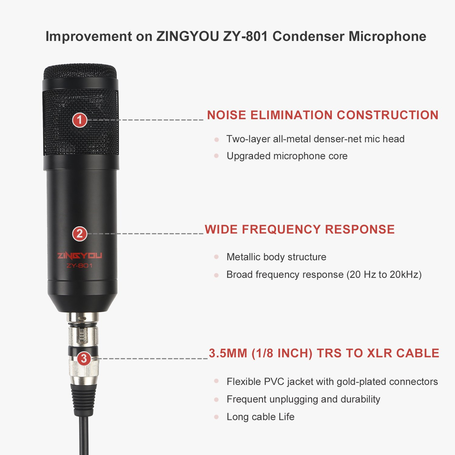 ZINGYOU ZY-801 Professional Studio Microphone, Desktop Computer Cardioid Condenser Mic with Tripod for PC Recording, Broadcasting (Black) by ZINGYOU (Image #3)