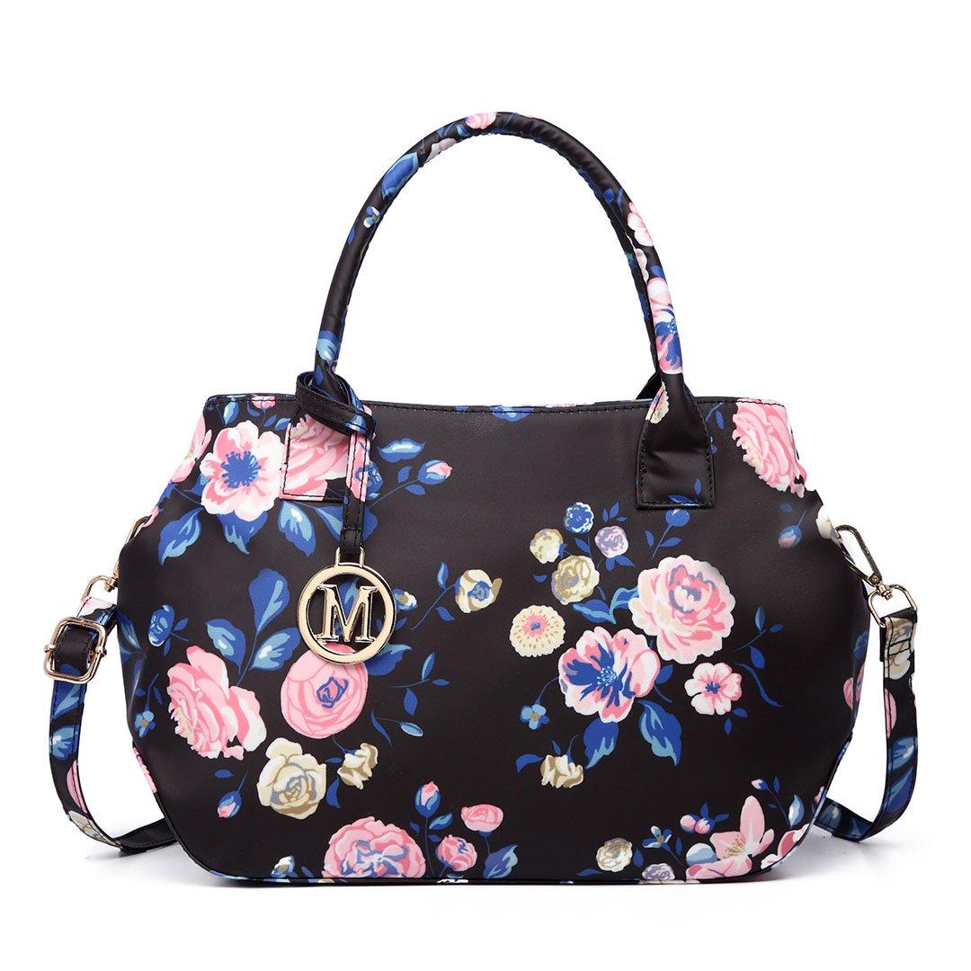 Miss Lulu Structured Matte Oilcloth Shoulder Tote Bag Bird Polka Dot Print Pattern Handbag