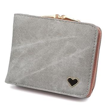 kaoling Monedero de Mujer Monedero de Manojo pequeño para Dama Carteras de Mujer Monedero de Mujer Mini Portatarjetas de Cuero Gray: Amazon.es: Deportes y ...