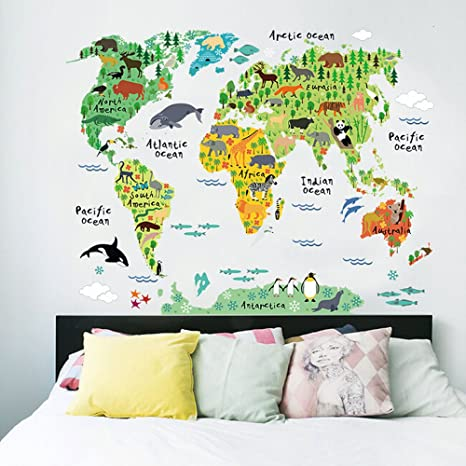 Wall Stickers Mondo.Map Wall Decal Map Wall Decals Animal World Map Wall