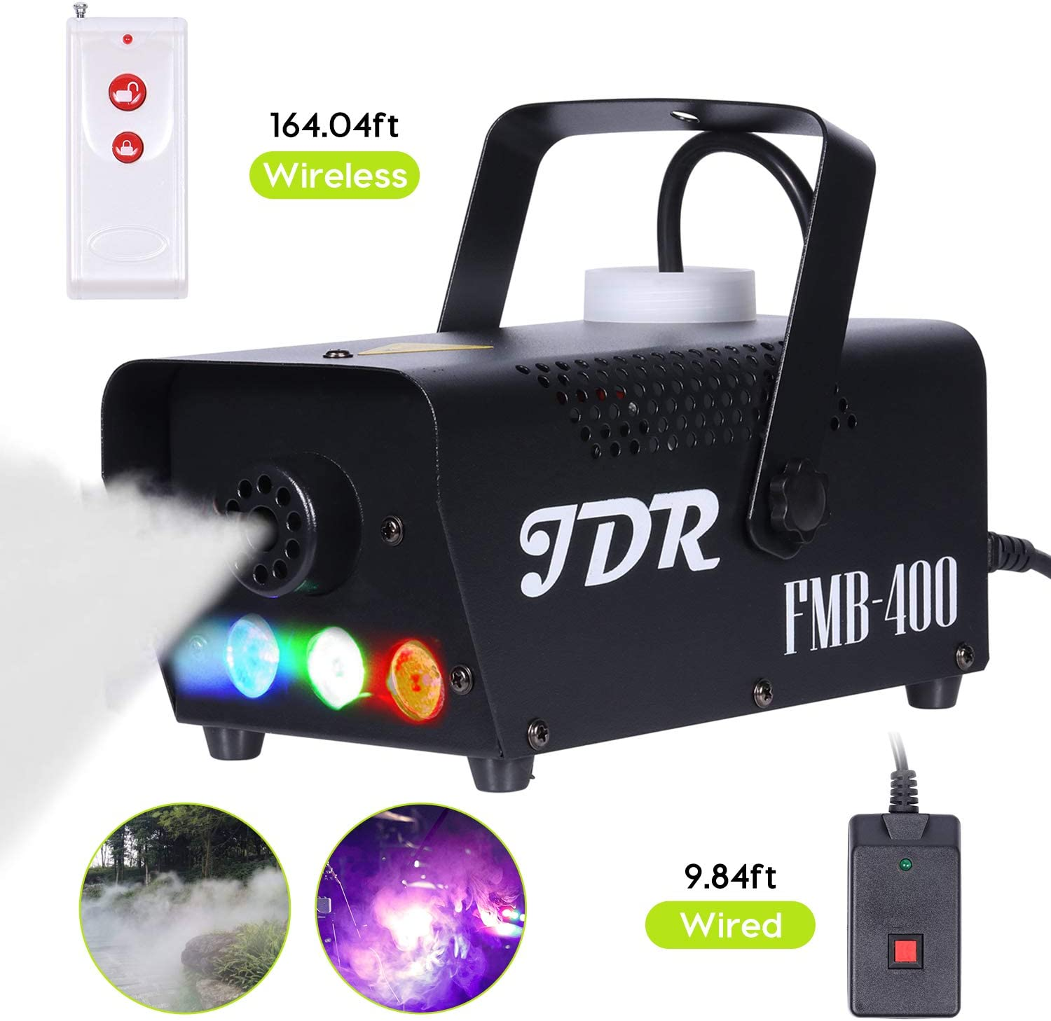 JDR Fog Machine with Controllable lights, Disinfection LED Smoke Machine