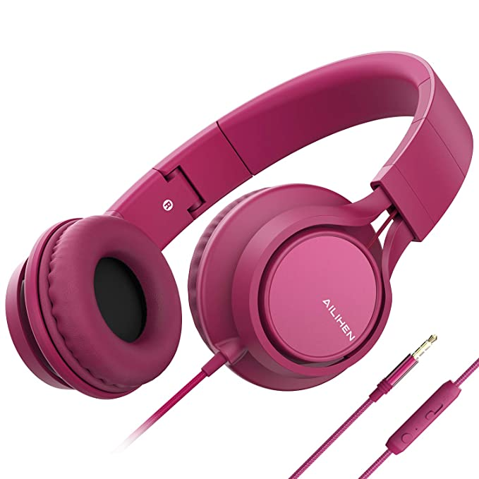 AILIHEN C8 (Upgraded) Headphones with Microphone and Volume Control Folding Lightweight Headset for Cellphones Tablets Smartphones Laptop Computer PC Mp3 / 4 (Rose)