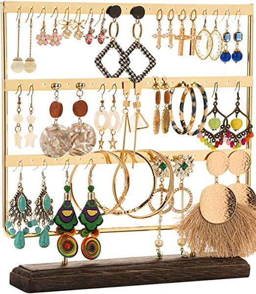 Amazon Com Dhmk Earring Stand Jewelry Display Rack 3 Tier Ear Stud Holder Jewelry Organizer Ear Stud Earring Holder 69 Holes With Wood Base Stand Display Rack For Women Girls Gift Ear Stud Holders