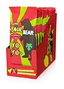 BEAR Sour - Real Fruit Yoyos - Strawberry-Apple, No added Sugar, All Natural, non GMO, Gluten Free, Vegan - Healthy on-the-go snack for kids & adults, 0.7 Ounce (Pack of 12)