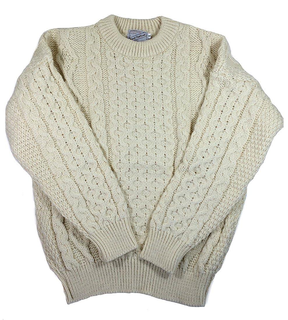 Kerry Woollen Mils Aran Wool Sweater Crewneck Unisex Made in Ireland Kerry Woollen Mills