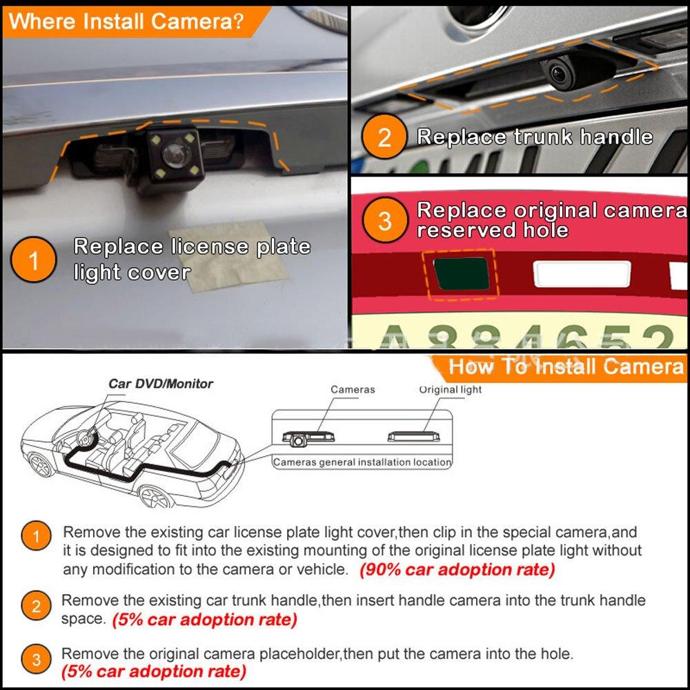 Kennzeichenleuchte Schwarz Super HD Pro R/ückfahrkamera wasserdicht Nachtsicht Auto R/ückansicht Kamera Einparkhilfe R/ückfahrsystem f/ür Peugeot 206//207//306//307//308//406//407//5008 SM Sedan