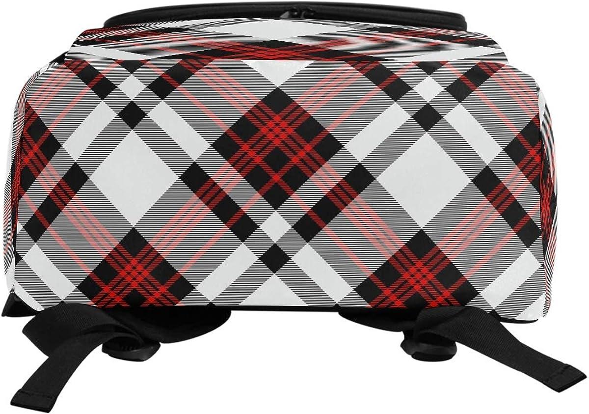 Laptop Backpack Tartan Plaid Pattern Stripes Red Grey Black Large Capacity Bag Travel Daypack