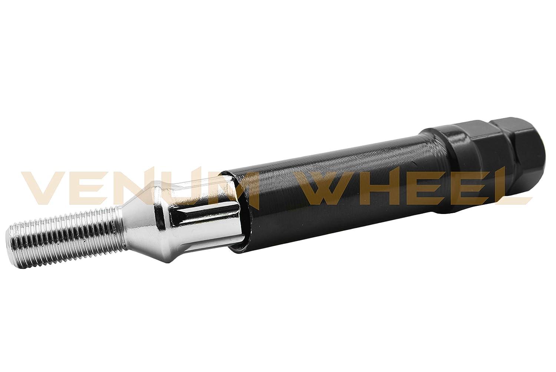 28 MM Shank Length Wheel Bolt 5Pc Chrome 14x1.5B Spline Tuner Lug Bolts for Aftermarket Wheels - for All Mercedes Benz Vehicles W// 14x1.5 Thread Pitch 1 Key Standard Length