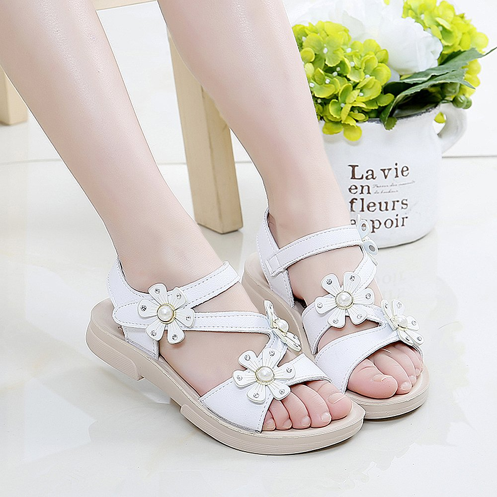 QZBAOSHU Girls Sandals with Three Pearls Flowers Leather Shoes Sandals for Little Girls