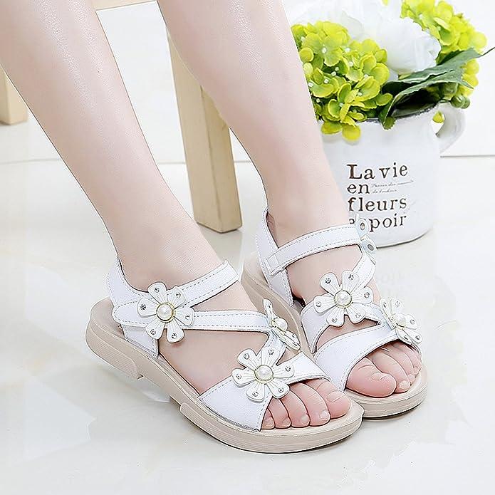 QZBAOSHU Ragazze Sandali con Tre Perle Fiori Pelle Scarpe Sandali per Piccolo Ragazze CN26=EU25 Rosa Chiaro 9DJhT