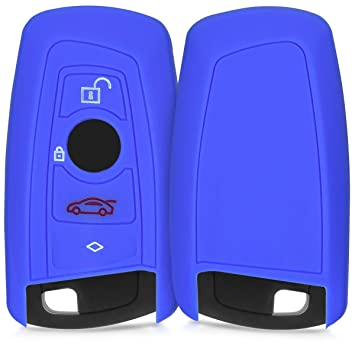 kwmobile Funda de Silicona para Llave de 4 Botones para Coche BMW - Carcasa Protectora [Suave] de [Silicona] - Case Mando de Auto [Azul]