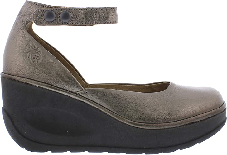 Fly London JUVE923FLY Mousse Leather Ankle-Strap Wedge Platform Womens Shoes