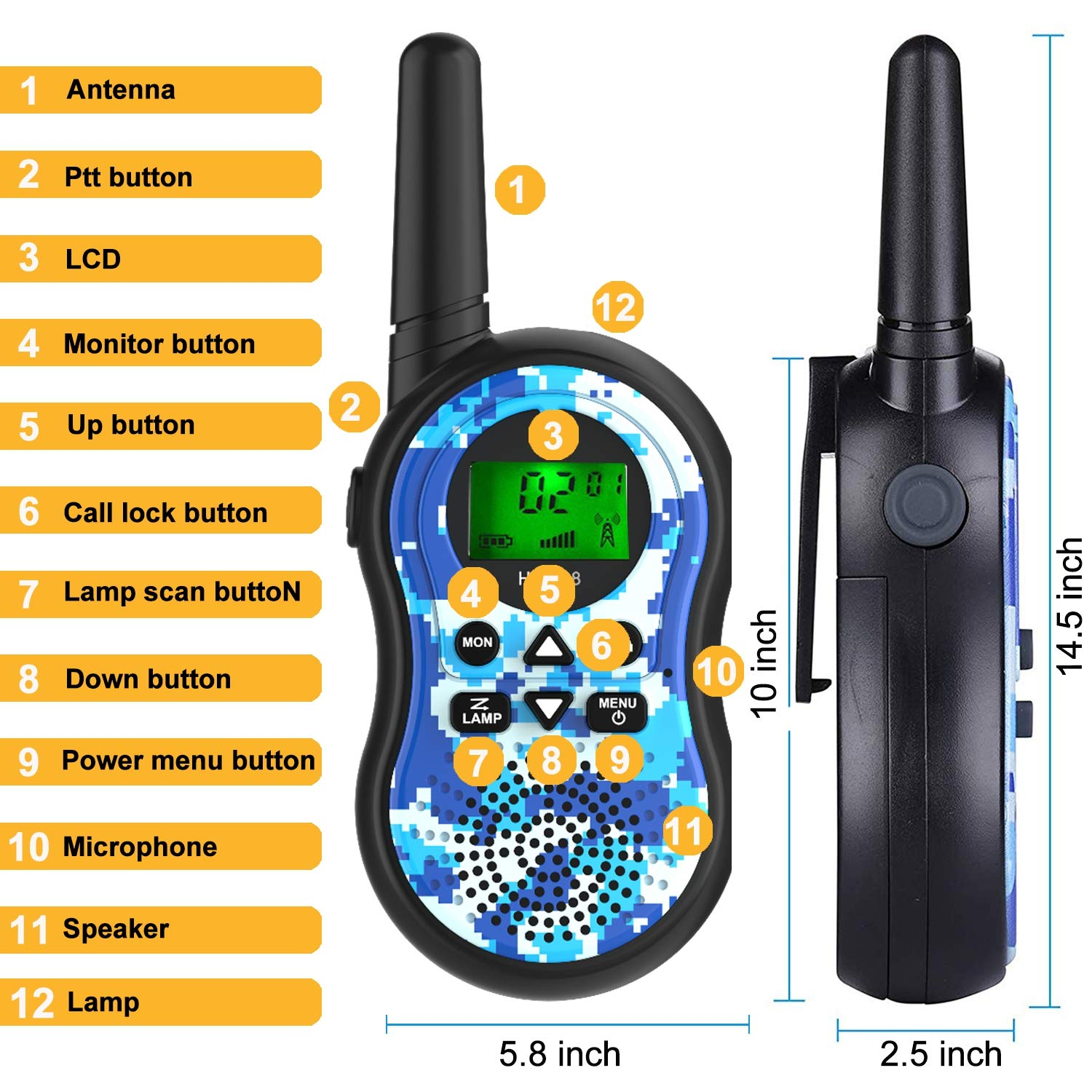 GreaSmart Kids Walkie Talkies,6 Pack 22 Channels Two Way Radio Long Range Kids Toys & Handheld Walkie Talkie with LCD Flashlight Best Gifts for Boy Girls Family Back to Shool Game Outdoor Adventures by GreaSmart (Image #2)